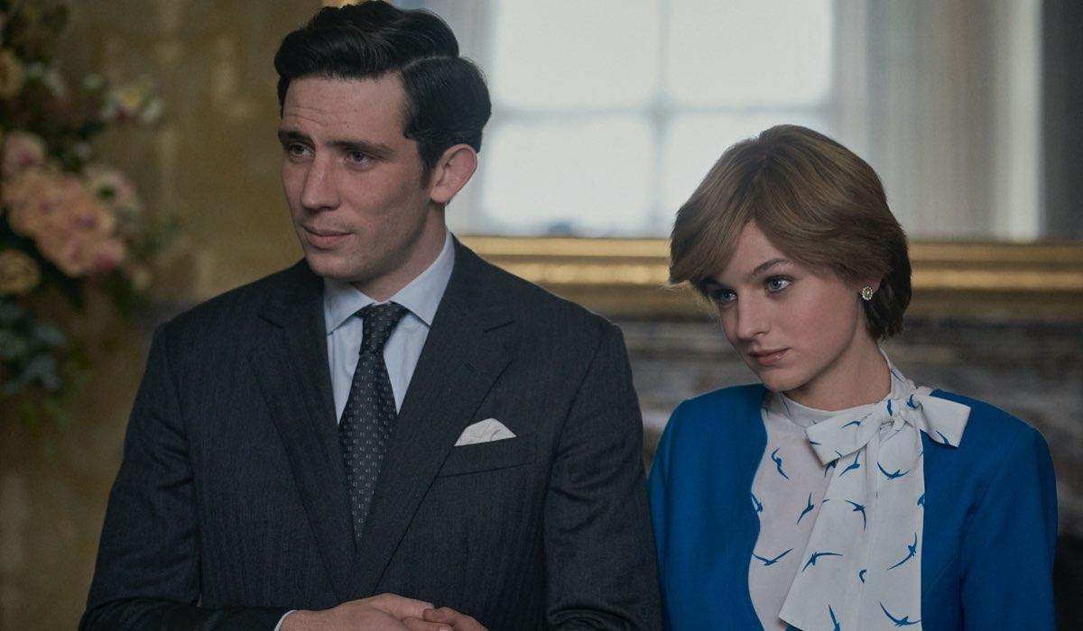 The Crown 4 stagione, foto del fidanzamento tra Lady Diana e il Principe Carlo, interpretati da Josh O'Connor e Emma Corrin Credits Netflix