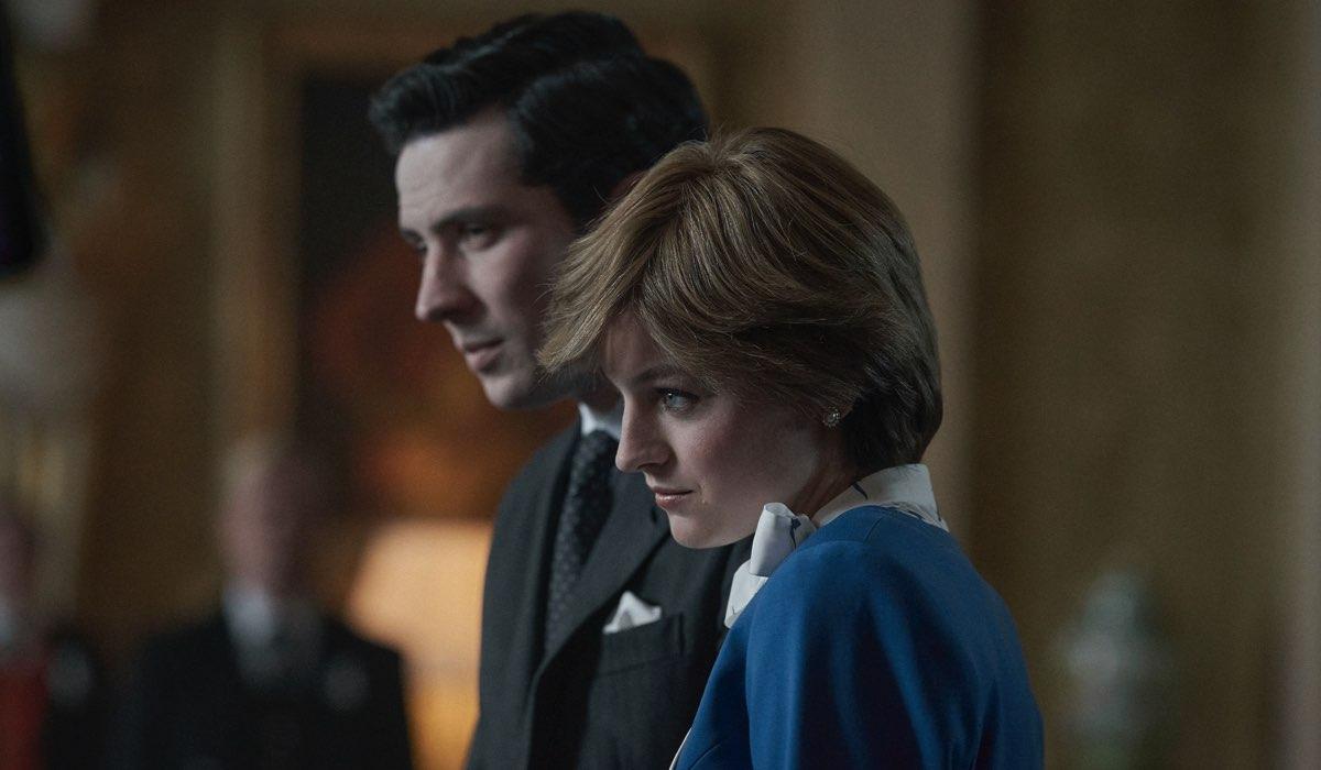 The Crown 4, una scena del fidanzamento tra Lady Diana e il Principe Carlo, interpretati da Josh O'Connor e Emma Corrin Credits Netflix
