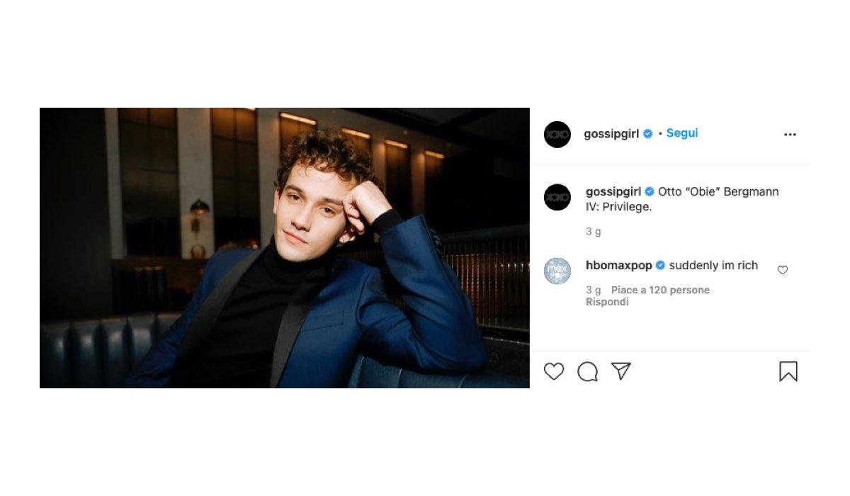 Eli Brown interpreta Otto Bergmann in Gossip Girl 2021: foto postata sul Profilo Instagram Ufficiale della serie