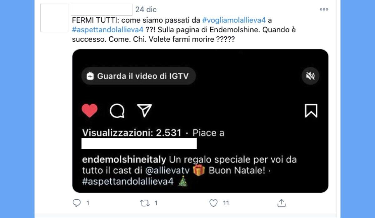 Il Commento Di Una Fan Al Video De L Allieva Con #aspettandolallieva4 Pubblicato Sul Profilo Instagram Di Endemol Shine Italy