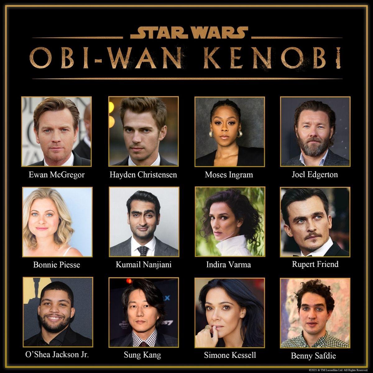 """Il cast di """"Obi-Wan Kenobi"""", la serie su Disney+. Credits: Disney/LucasFilm."""