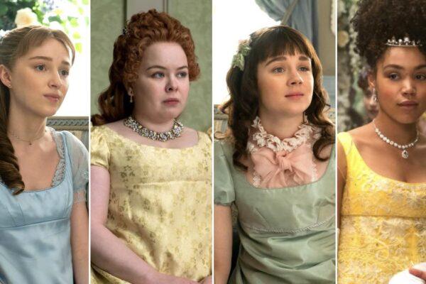 Phoebe Dynevor (Daphne), Nicola Coughlan (Penelope), Claudia Jessie (Eloise) E Ruby Barker (Marina) In Bridgerton. Credits: Netflix