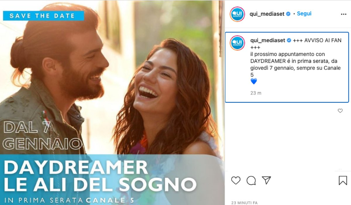 Screenshot di un post Condiviso su Instagram Da @Qui_Mediaset sul ritorno in Prima Serata di Daydreamer