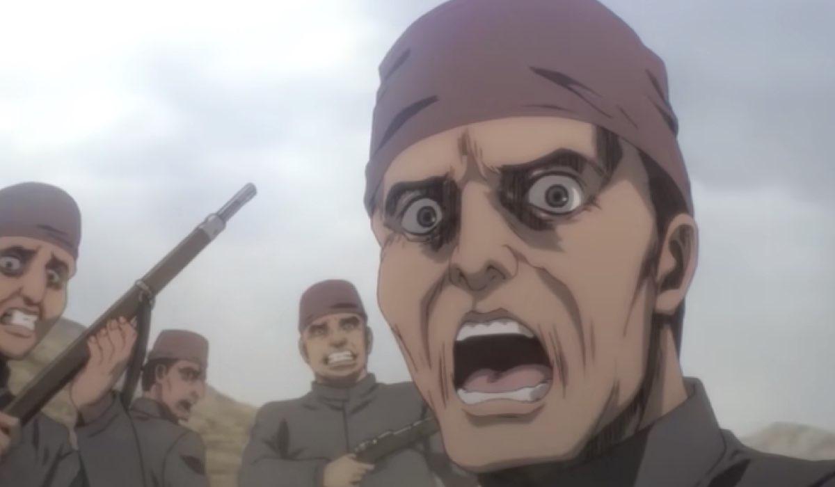 una scena del trailer ufficiale di attack on titan 4 stagione, credits NHK
