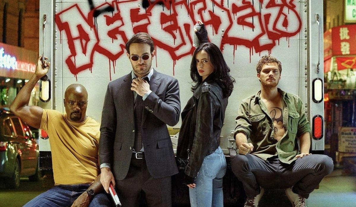 I Defenders. Da sinistra: Mike Colter (Luke Cage), Charlie Cox (Daredevil), Krysten Ritter (Jessica Jones) e Finn Jones (Iron Fist). Credits: Marvel Television/Netflix.