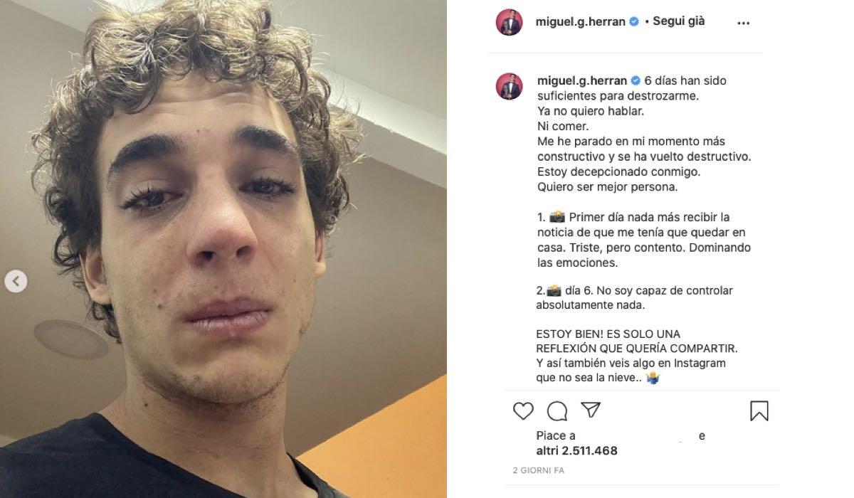 Miguel Herran Piange Su Instagram. Credits: Profilo Ufficiale Di @miguel.g.herran