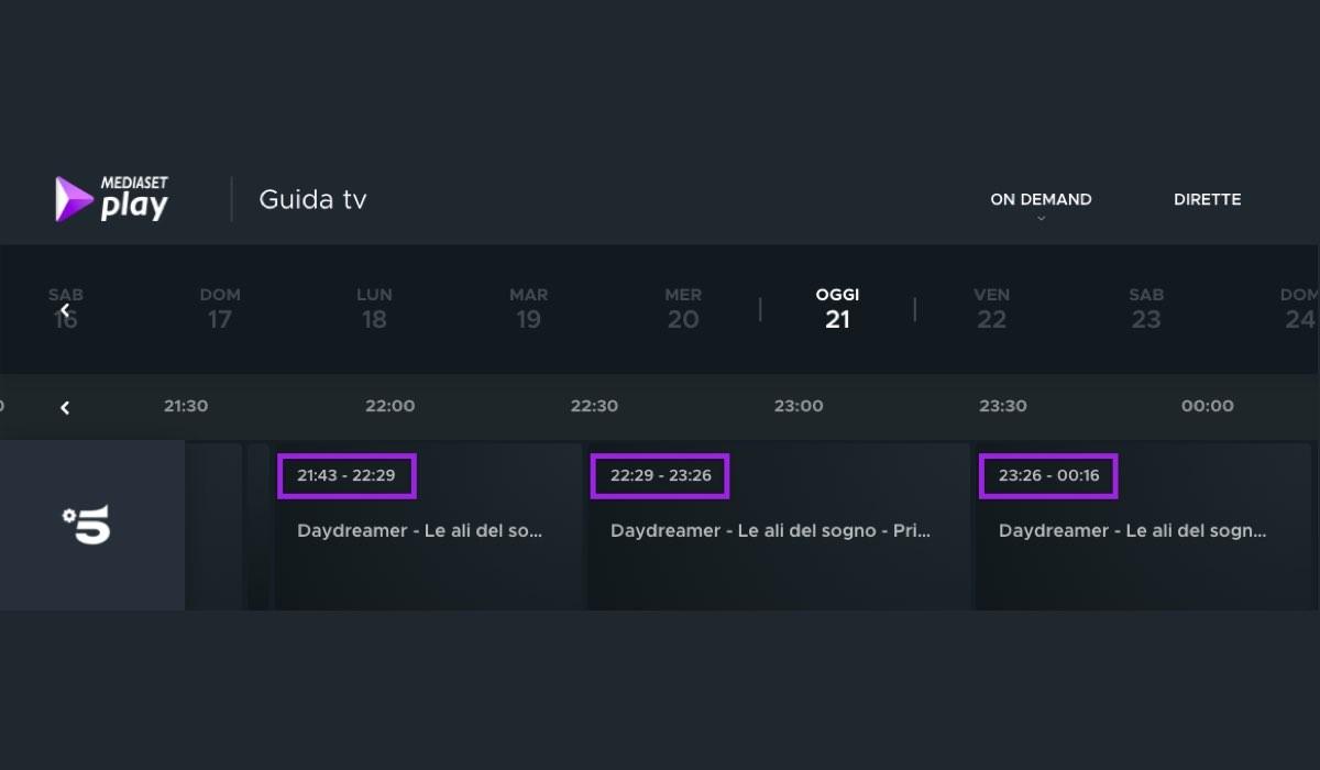 Screenshot Della Guida Tv Mediaset Del 21 Gennaio 2021
