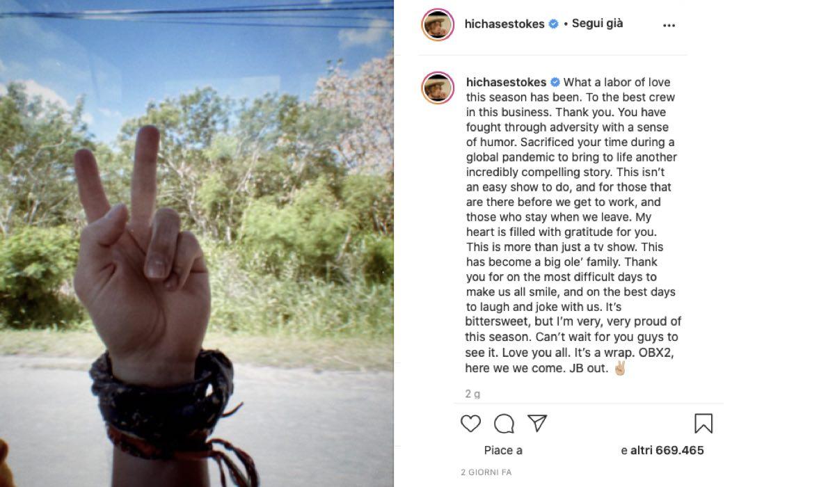 Chase Stokes Parla Della Fine Delle Riprese Di Outer Banks 2. Credits: Instagram Via Profilo Ufficiale @hichasestokes