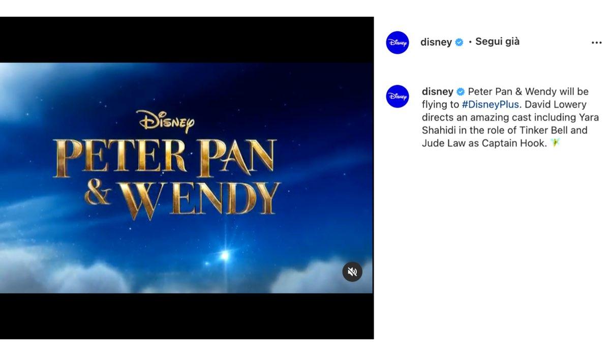 film live action disney in arrivo peter pan e wendy via instagram