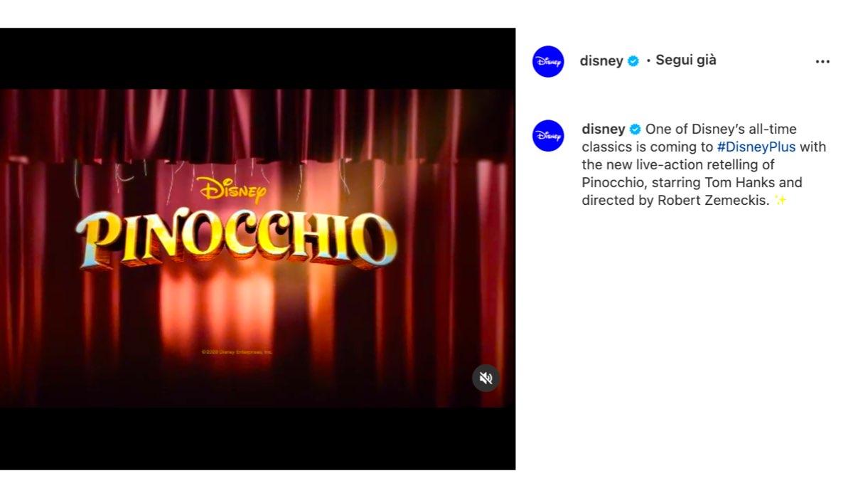 film live action disney in arrivo pinocchio via instagram
