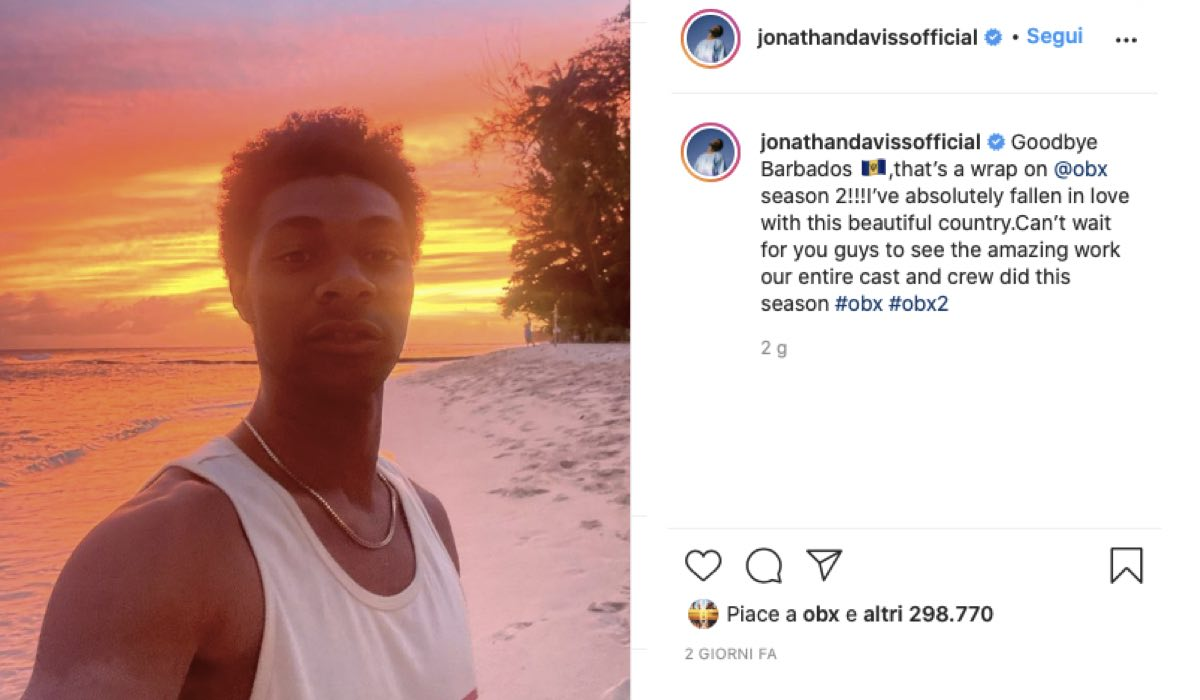 Jonathan Daviss Parla Della Fine Delle Riprese Di Outer Banks 2. Credits: Instagram Via Profilo Ufficiale @jonathandaviss