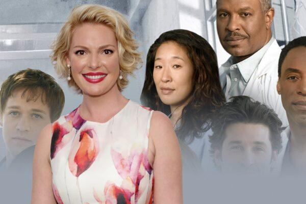 A sinistra: Katherine Heigl. A destra: il cast di Grey's Anatomy. Credits: Cindy Ord/Getty Images/Disney.