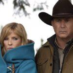 Da sinistra: Kelly Reilly e Kevin Costner in una scena di Yellowstone. Credits: ViacomCBS via Sky Italia.