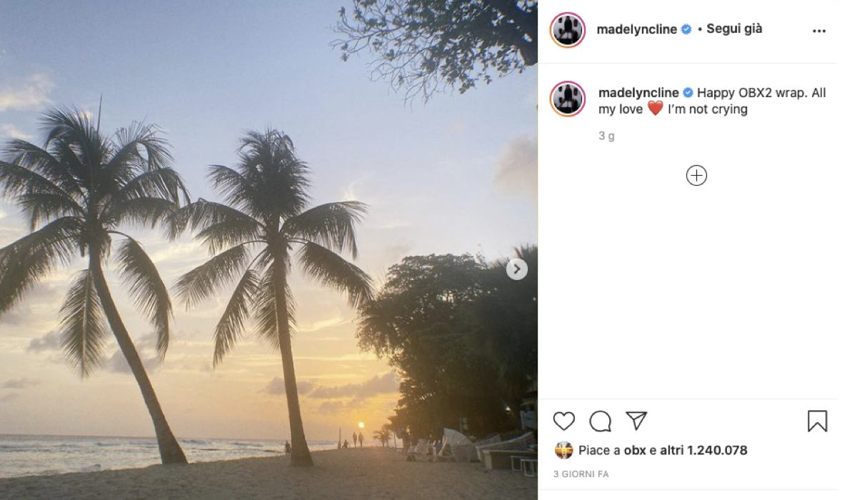 Madelyn Cline Parla Della Fine Delle Riprese Di Outer Banks 2. Credits: Instagram Via Profilo Ufficiale @madelyncline