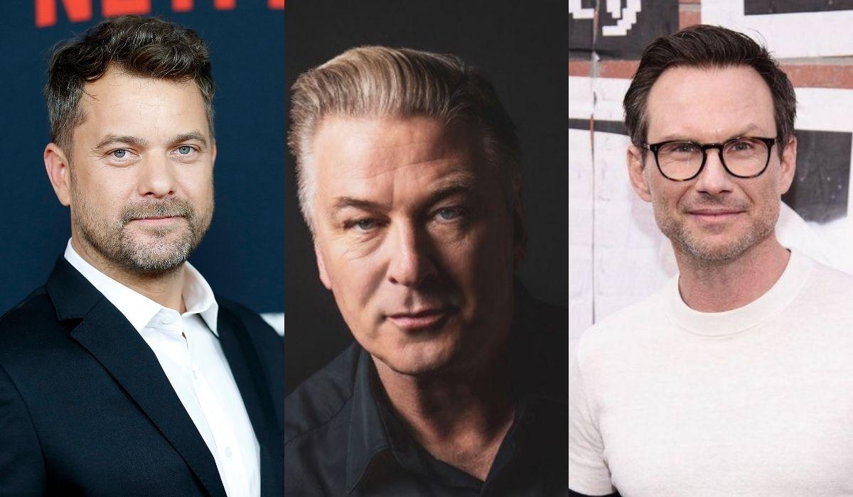 Da sinistra: Joshua Jackson, Alec Baldwin e Christian Slater, protagonisti della serie tv Dr Death. Credits: Getty Images/Marco Vacchi/Starzplay Italia.