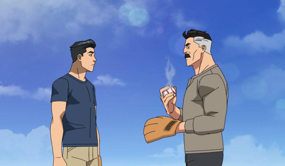 Mark Grayson e Omni-Man in una scena di Invincible. Credits: Amazon Studios.