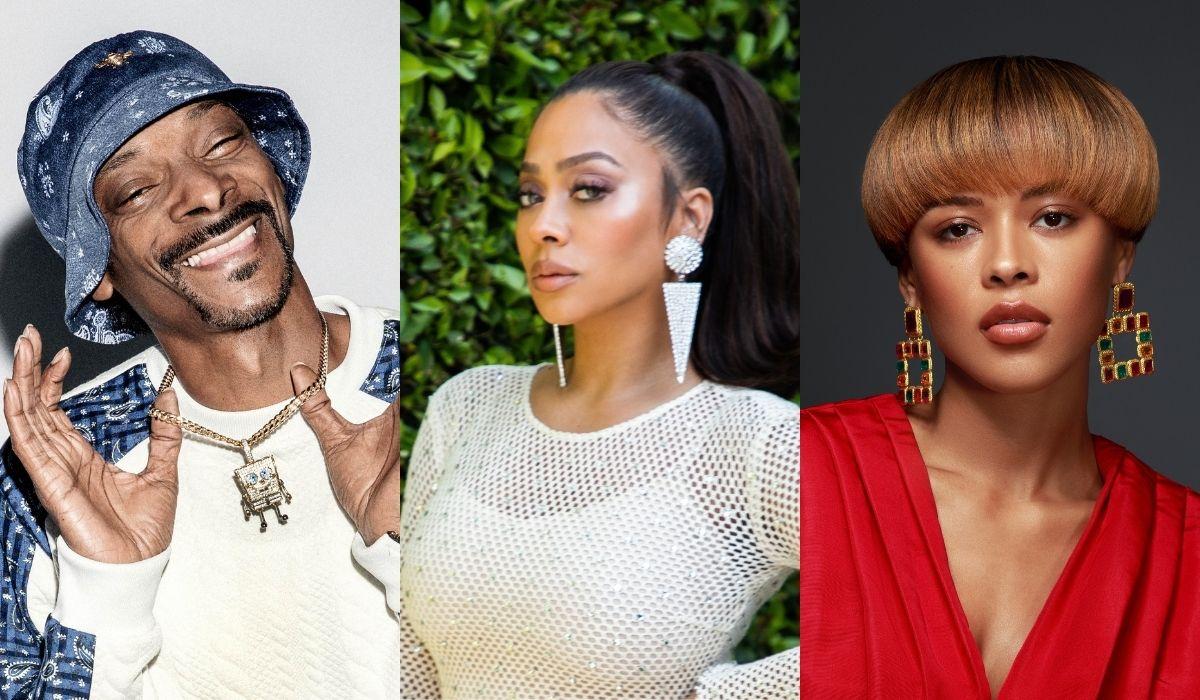 Black Mafia Family serie tv. Da sinistra a destra: Snoop Dogg, La La Anthony e Serayah McNeill. Credits: Starzplay.