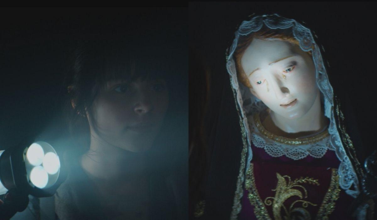 """Anna (Giulia Dragotto) si trova a faccia a faccia con una statua della Madonna che piange nel primo episodio di """"Anna"""". Credits: Sky."""