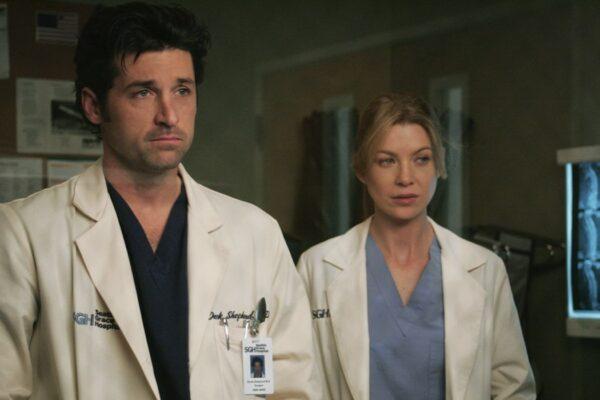 Patrick Dempsey e Ellen Pompeo in una scena di Grey's Anatomy. Credits: Star/Disney Plus.