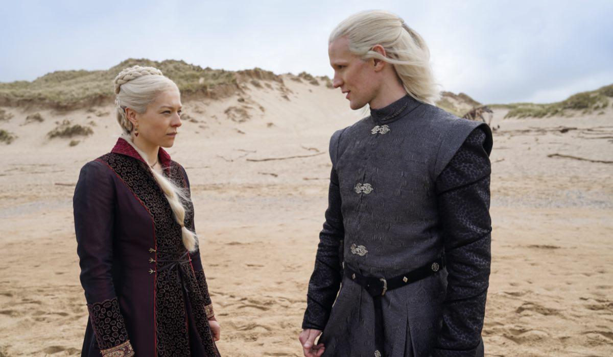 House Of The Dragon, Rhaenyra Targaryen (Emma D'Arcy) E Daemon Targaryen (Matt Smith). Credits: Sky HBO E Erin Parkin