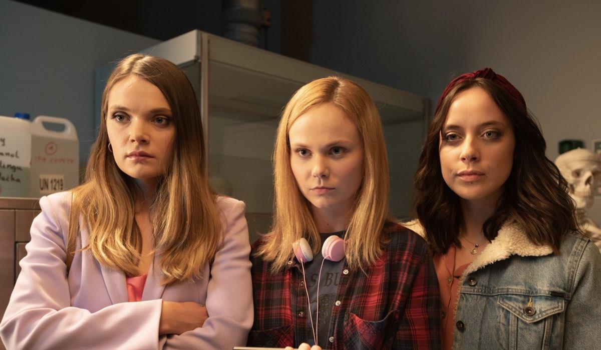 Sandra Drzymalska (Monika), Aleksandra Skraba (Natalia) e Maria Sobocinska (Paulina) In Sexify. Credits: Krzysztof Wiktor/Netflix