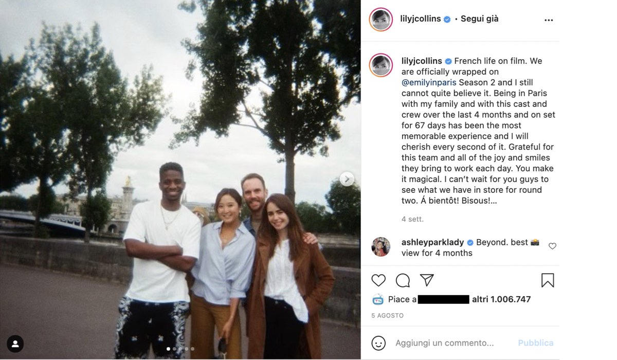 emily in paris 2 riprese finite via instagram @lilycollins