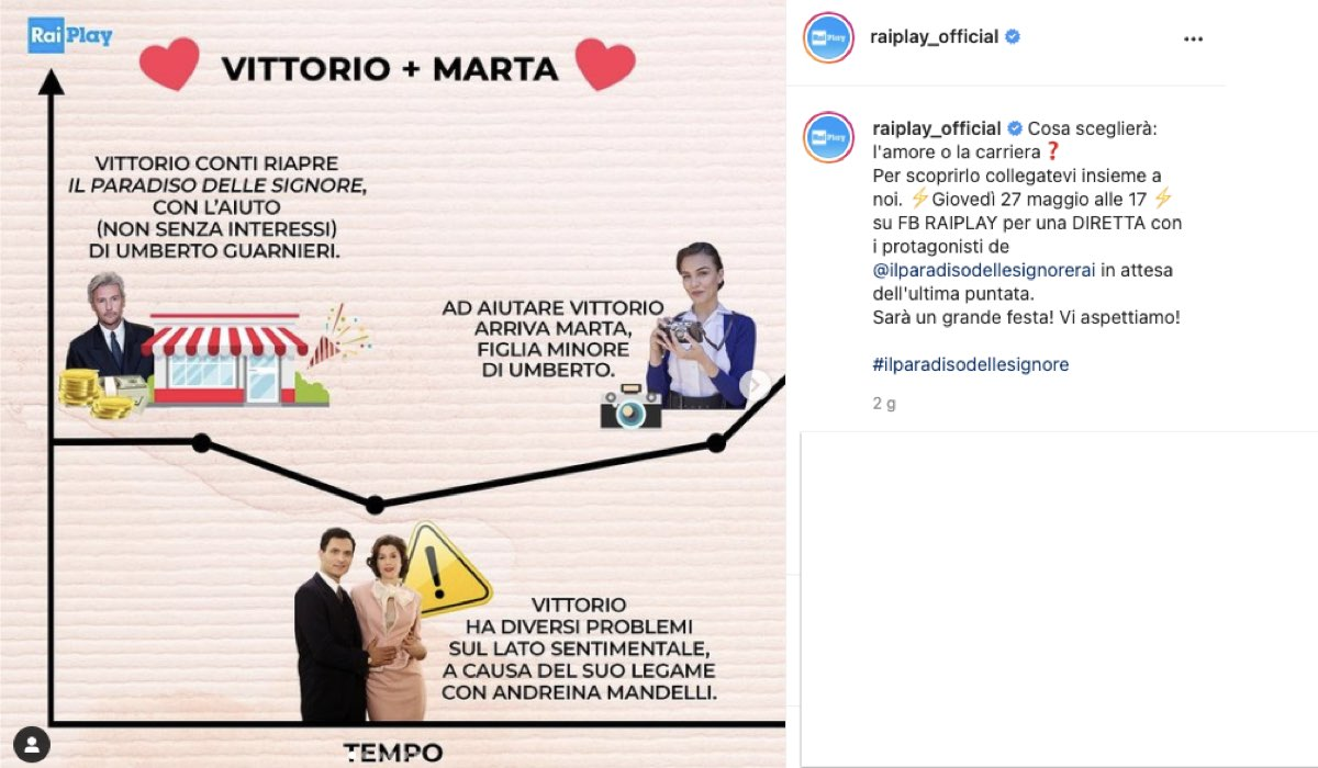 Il Paradiso delle Signore 5: l'annuncio della diretta con i protagonisti e il primo recap di Marta e Vittorio. Credits: Instagram/RaiPlay