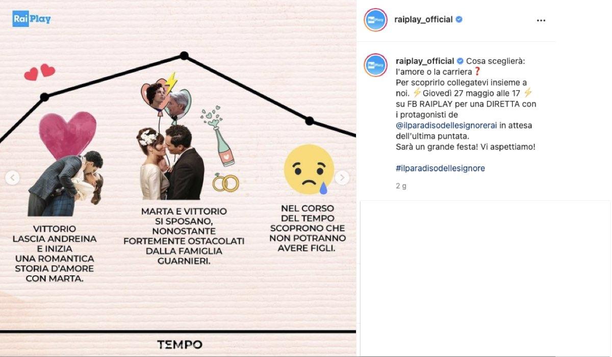 Il Paradiso delle Signore 5: l'annuncio della diretta con i protagonisti e il secondo recap di Marta e Vittorio. Credits: Instagram/RaiPlay