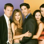 Lisa Kudrow, Matthew Perry, Jennifer Aniston, David Schwimmer, Courteney Cox E Matt LeBlanc Sul Set Di Friends. Credits: Comedy Central E (C) Warner Bros. Entertainment Inc.