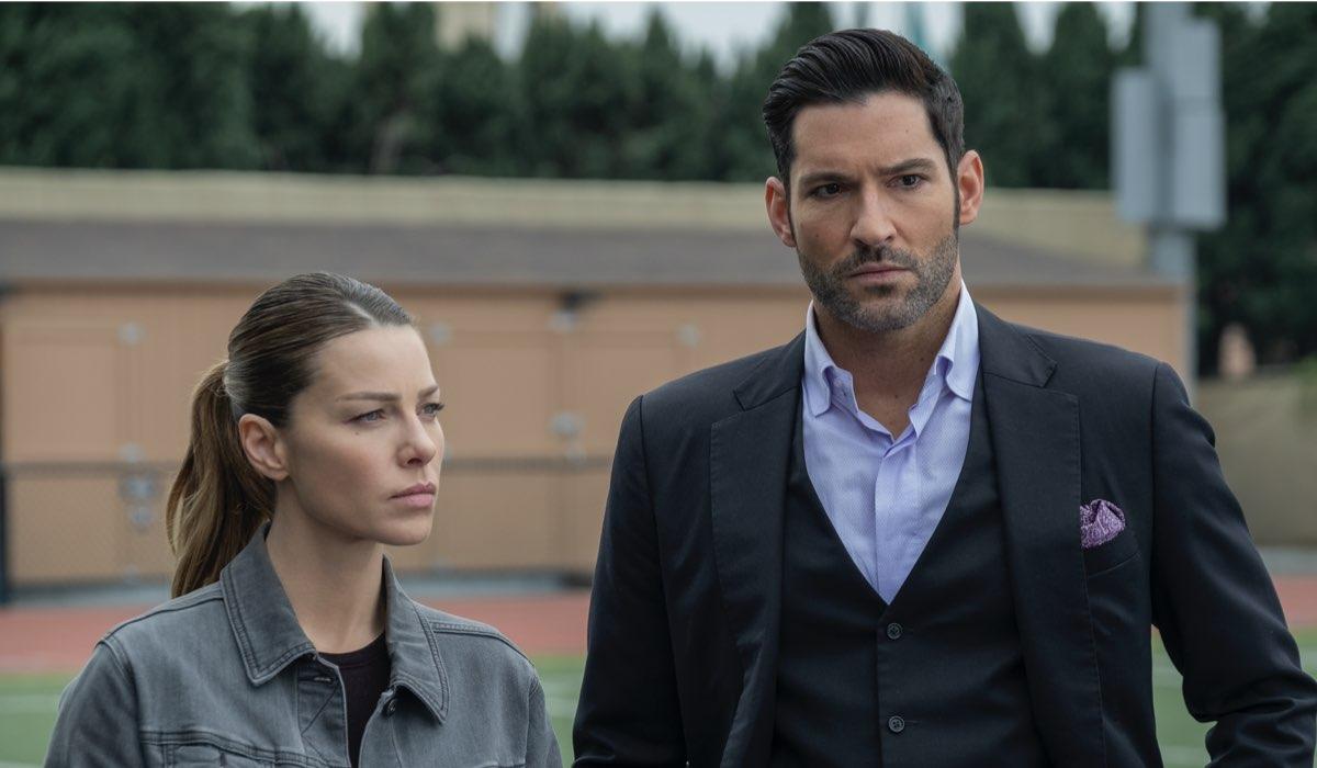 Da sinistra: Chloe (Lauren German) e Lucifer (Tom) Ellis in una scena di Lucifer 5B. Credits: John P. Fleenor/Netflix.