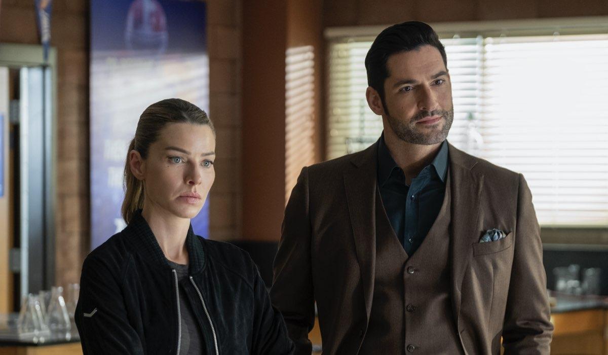 Da sinistra: Lauren German e Tom Ellis in una scena di Lucifer 5B. Credits: John P. Fleenor/Netflix.