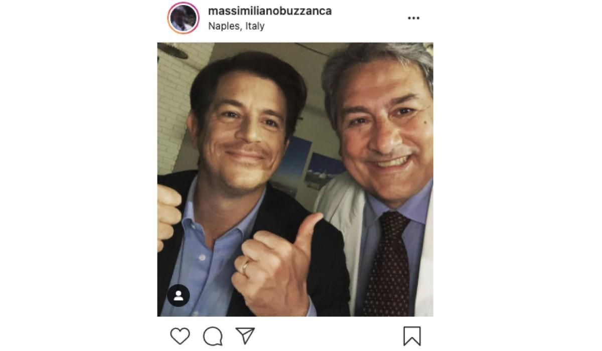 Screenshot si una foto con Michelangelo Tommaso e Massimiliano Buzzanca pubblicata sul suo Profilo Instagram