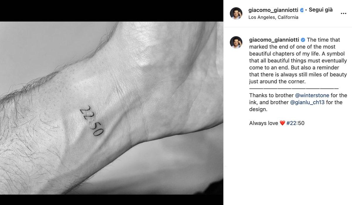 tatuaggio giacomo gianniotti greys anatomy via instagram
