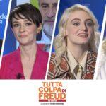 Da sinistra: Rolando Ravello, Marta Gastini, Demetra Bellina e Caterina Shulha, regista e protagoniste di Tutta Colpa Di Freud - La Serie. Credits: Prime Video/Tvserial.it