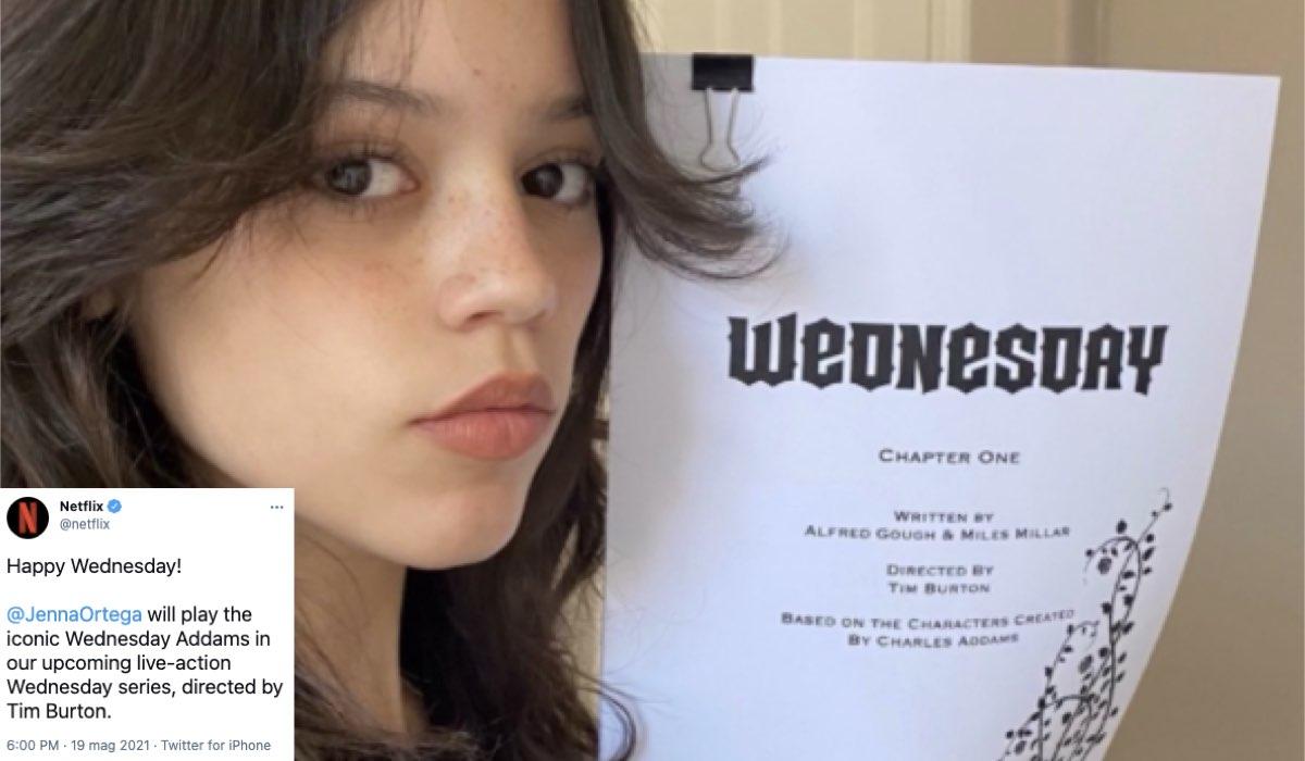 """Jenna Ortega, qui con la sceneggiatura di """"Wednesday"""", la serie Netflix. Credits: Netflix/Twitter."""