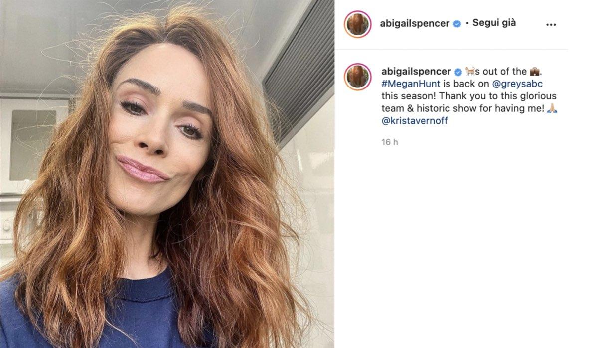 abigail spencer torna grey's anatomy 18 via instagram