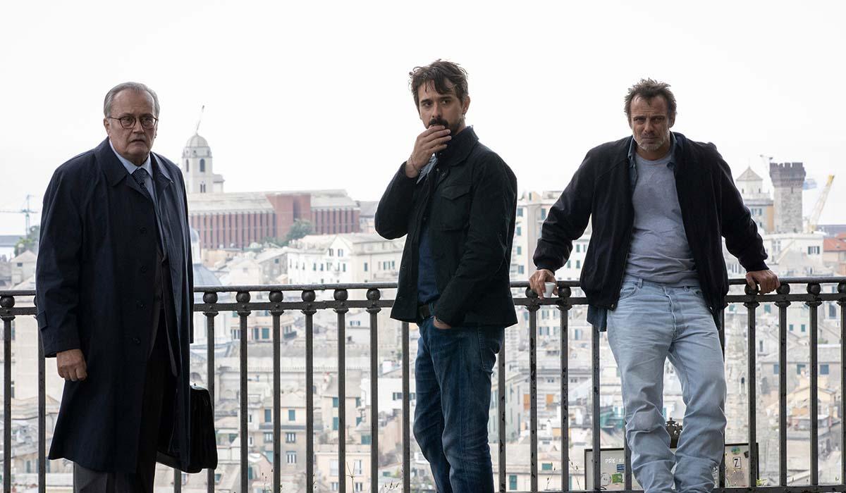 Bebo Storti, Davide Iacopini e Alessandro Preziosi nella serie televisiva Masantonio. Credits: Ufficio Stampa Mediaset.