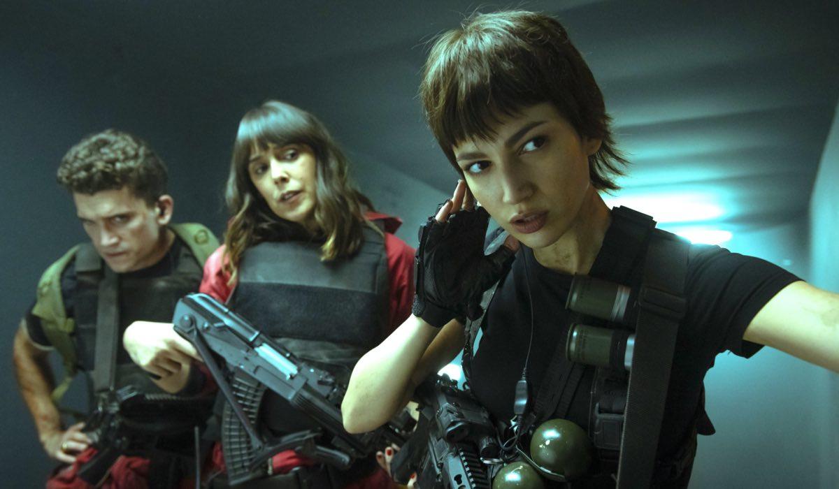 La Casa Di Carta 5 Jaime Lorente (Denver), Belen Cuesta (Manila/Julia) E Ursula Corbero (Tokyo). Credits: Tamara Arranz/Netflix