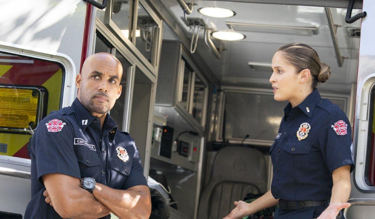 Boris Kodjoe (Robert Sullivan) e Jaina Lee Ortiz (Andy Herrera) in Station 19 4. Credits: Mediaset