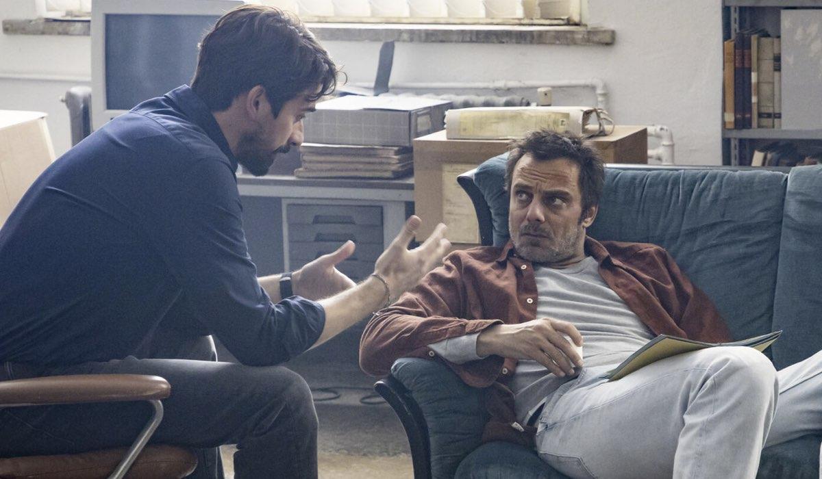 Davide Iacopini (Sandro Riva) e Alessandro Preziosi (Elio Masantonio) in Masantonio - Sezione scomparsi. Credits Mediaset