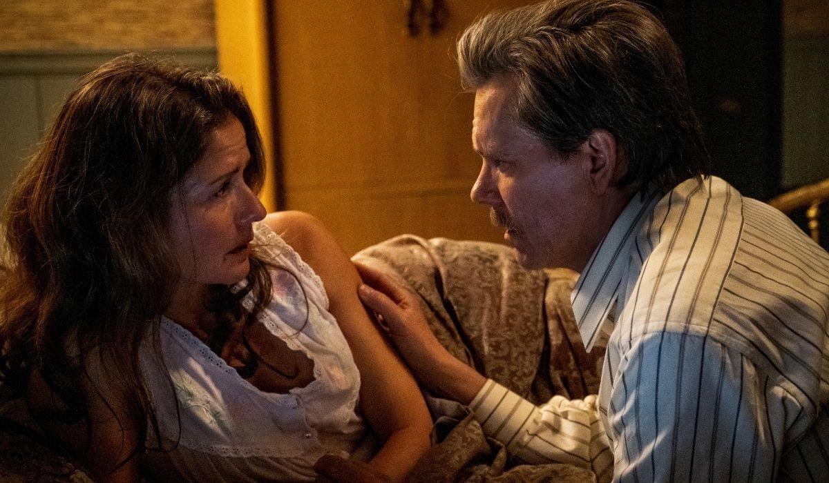 City on a Hill: una scena dalla seconda stagione con Jenny (Jill Hennessy) e Jackie (Kevin Bacon). Credits: Sky Italia