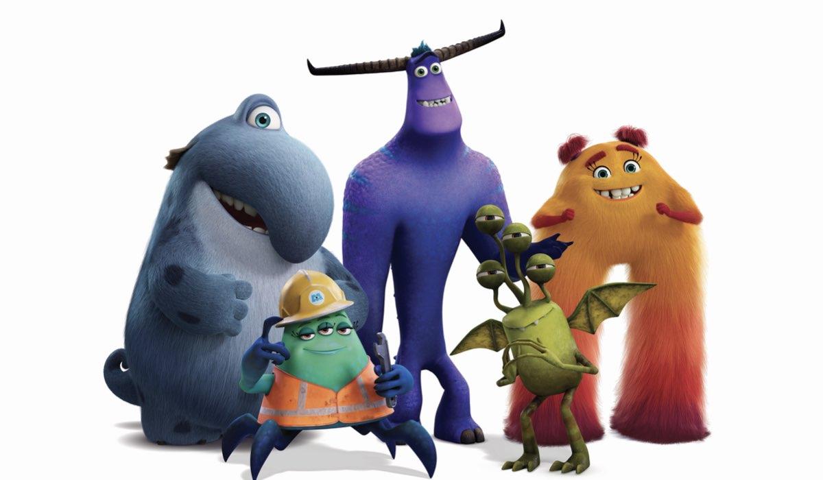 """Da sinistra: Fritz, Cutter, Tylor, Duncan e Val Little, i membri del MIFT di """"Monsters & Co. La serie - Lavori in Corso!"""", dal 7 luglio su Disney+. Credits: Disney Television Animation/Disney Plus."""