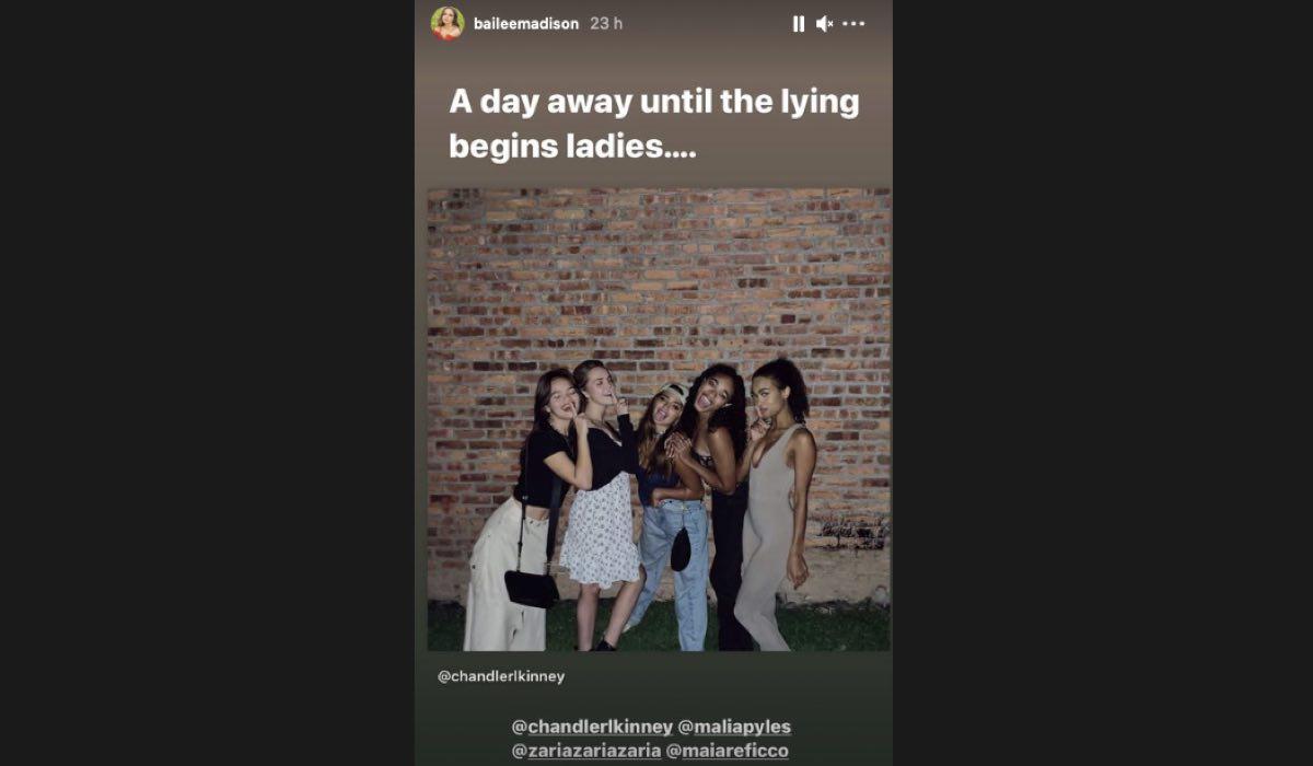 Bailee Madison Instagram Stories Inizio Riprese Pretty Little Liars Reboot. Credits: Profilo @baileemadison