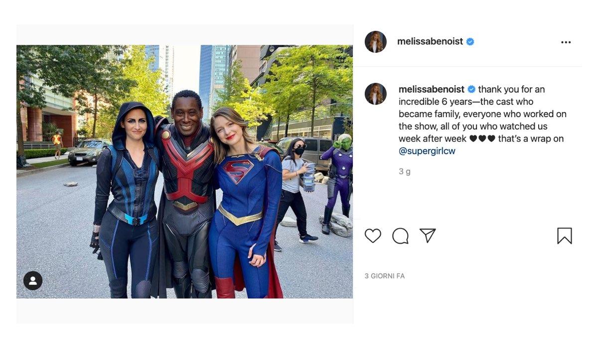 Screenshot di un Post Instagram Di Melissa Benoist Su Fine Riprese Supergirl 6