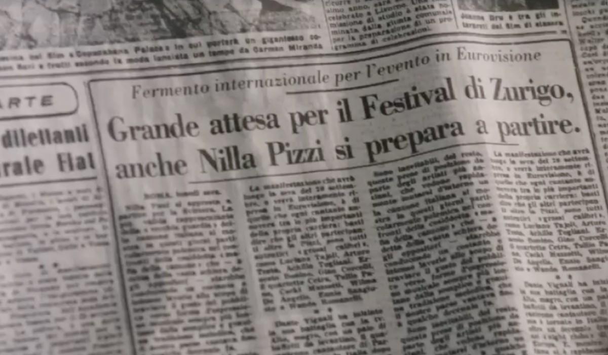 L'articolo sul Festival di Zurigo che Tina guarda nella puntata 11 de Il Paradiso delle Signore 6. Credits: Rai