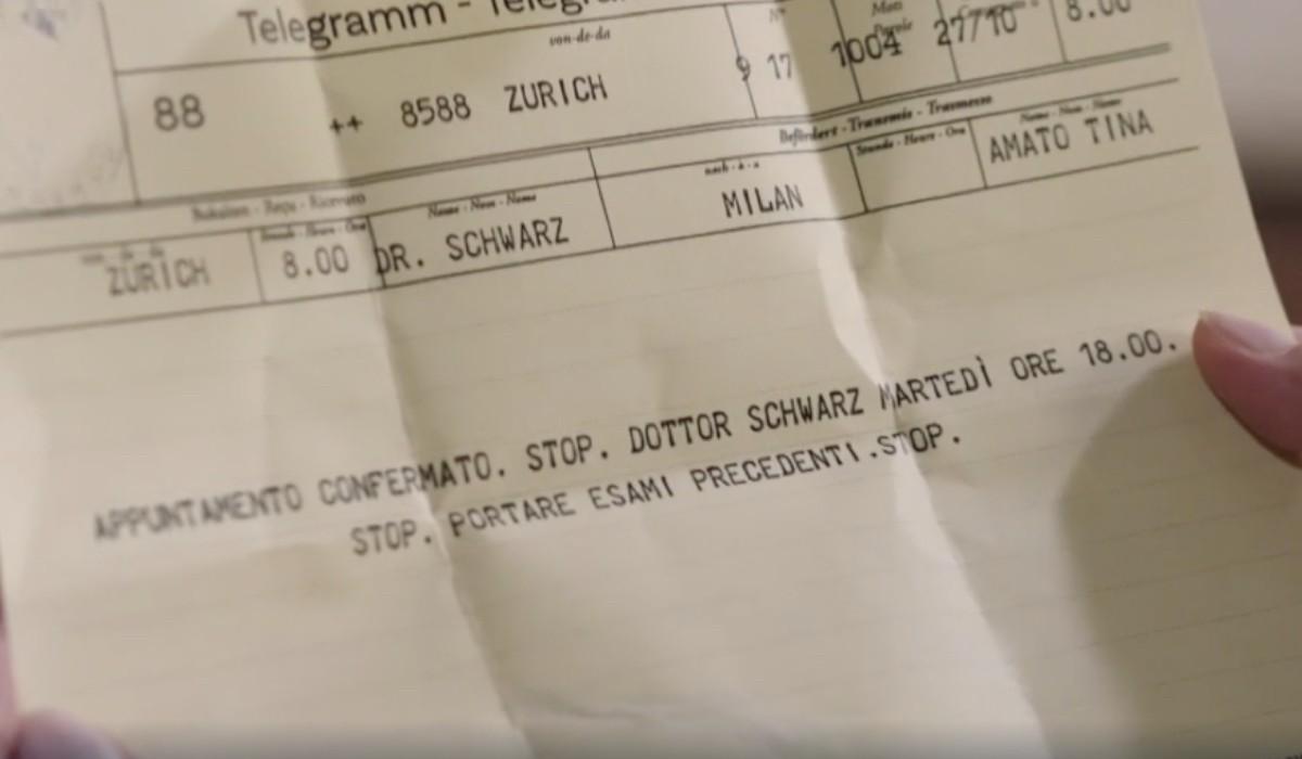 Il telegramma che Tina riceve dalla Svizzera per la sua visita medica nella puntata 11 de Il Paradiso delle Signore 6. Credits: Rai