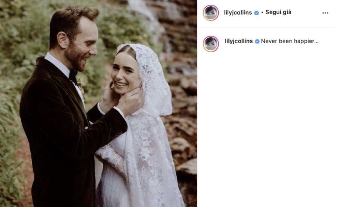 Lily Collins E Charlie Mcdowell Si Sono Sposati. Credits: Instagram Via @lilyjcollins