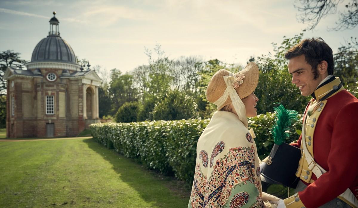 Ella Purnell (Lady Maria Grey) e Jeremy Neumark Jones (Edmund) In Belgravia Credits: Sky Italia