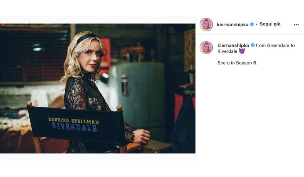 Kiernan Shipka Torna In Riverdale 6. Credits: Instagram Via Profilo @kiernanshipka