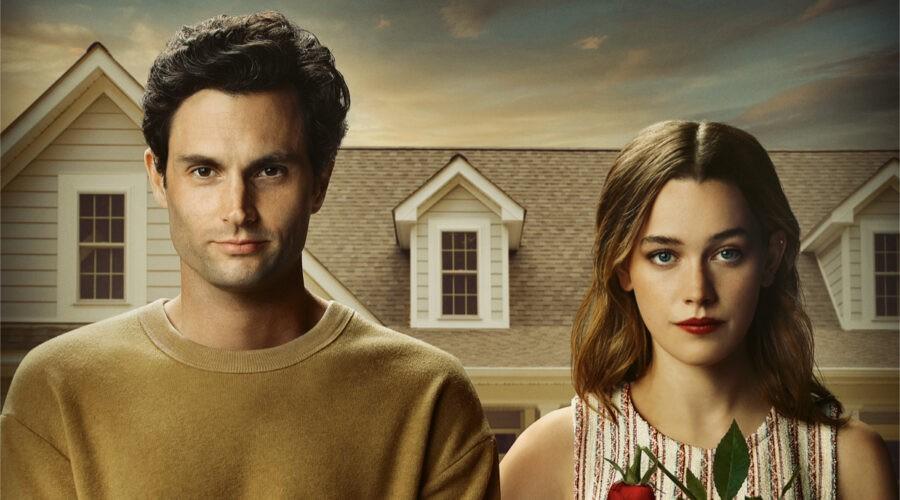 """Da sinistra: Penn Badgley e Victoria Pedretti nel poster di """"YOU"""". Credits: Netflix."""